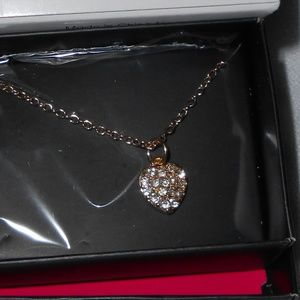 NIB Pave Heart Charm Necklace